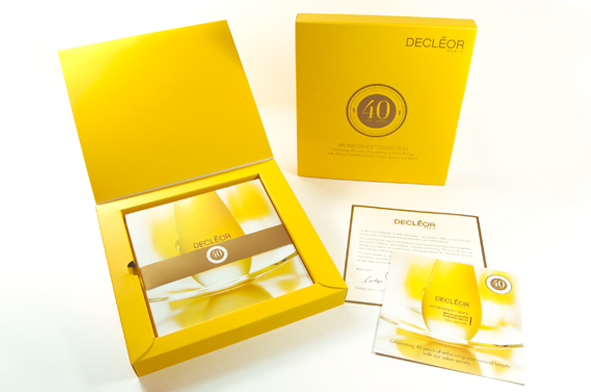 Splashdown design packaging and logo for Decleor 40th Anniversary
