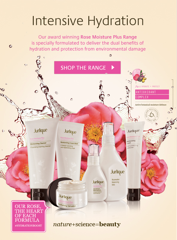 Digital campaign email for Jurlique Rose Moisture Plus